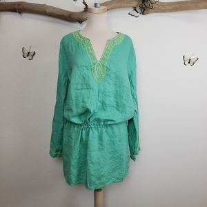 Soft surroundings green beaded embroidered tunic